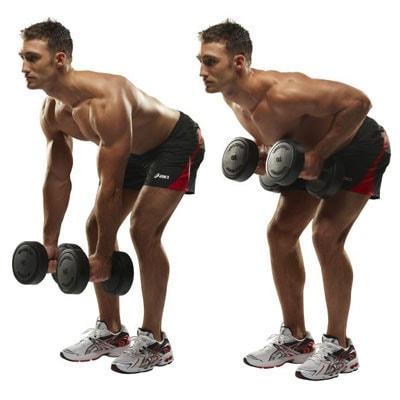 نحوه انجام حرکت دمبل خمیده دو دست یا دمبل رو به شکل صحیح